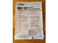 Boss ME-50 Guitar effects original instruction manual - Manual only! - Free to collect