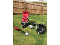 Quinny Buzz pushchair, Maxicosi car seat, isofix base