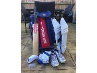 Full cricket equipment set and bag