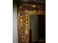 Large Heavy Ornate Wooden Framed Gold Gilt Mirror 41.5 inches x 28.5 inches Hallway Bedroom Dining