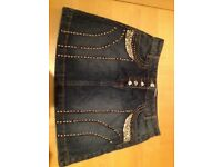 DENIM - Embellished & Studded Blue Ladies Skirt (Size 8)