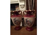 Large pair of Staffordshire vases