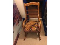HANDCARVED UNIQUE WOODEN ROCKING CHAIR FROM ZIMBABWE