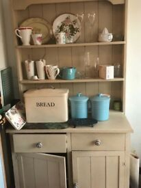 Lovely kitchen dresser. Painted in Annie Sloane cream. In two parts - so easy transportation.