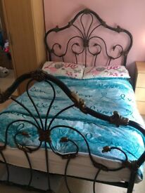 Solid iron double bed