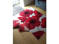 Poppy design rug and matching cushions