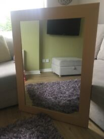 Large beech wood mirror
