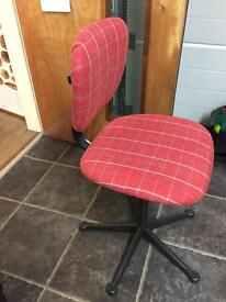 Retro office chair reupholstered in funky red check. Would look perfect with vintage furniture.