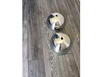 2 x Silver dome lamp shades