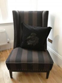 Chair in black/brown wool stripe, leather piping and dark nailing
