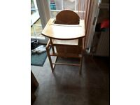 Wooden highchair/table & chair, good condition smoke free home