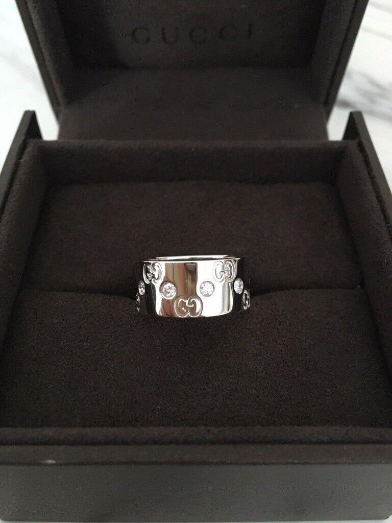 Gucci Icon Diamond Band Ring 18ct White Gold Brand New Valentine