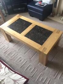 Solid oak and marble coffee table