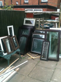 Various window inserts (wood) with double glazed glass