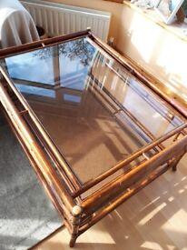 Rattan coffee/magazine table for living/garden room