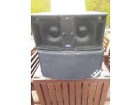 2 FBT Vertus CLA 208 S A processed active sub woofer 600 watt plus cases and poles and PS £600