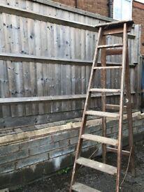 Vintage wooden ladders x 3