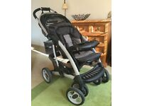 MOTHERCARE Trenton travel system (4 wheel): car seat, carry cot, foot & rain covers and change bag