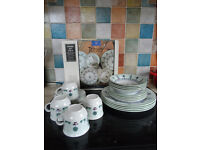 STAFFORDSHIRE POTTERY TOPIARY PATTERN 4-PLACE DINNER SET PLATES/BOWLS/CUPS NEW