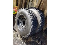 "16"" modular wheels for a landrover defender with 4 excellent mud tyres"