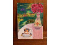 Original Hand Painted Oil Pastels Art Painting Vintage Imari Cup