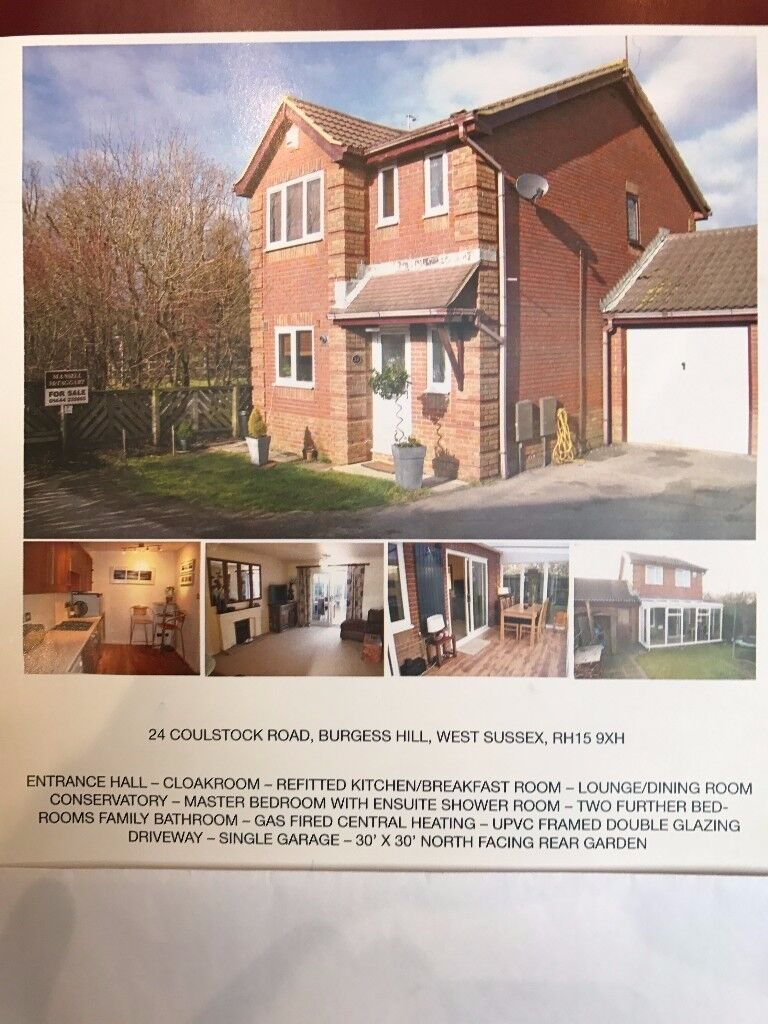 Superb 3 Bed link Det House in quiet, private Cul De Sac Location with garage and drive for 2 cars
