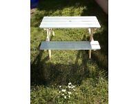 Children's wooden outdoor picnic bench