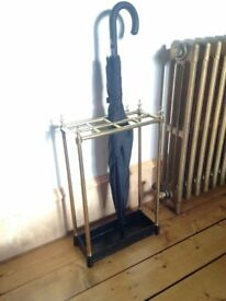Brass and Cast Iron Walking Stick Stand or Umbrella Stand
