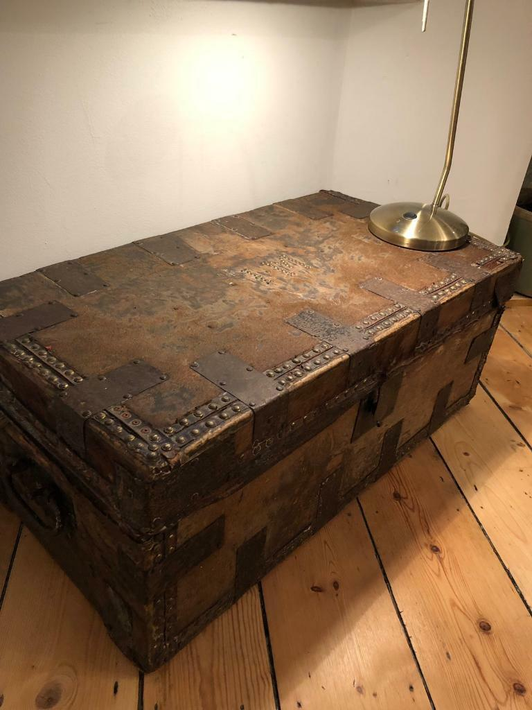 Antique Trunk Chest Coffee Table Storage Studded Leather Brass In
