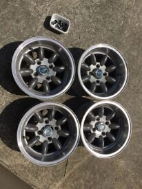 4 x Minilite-style wide alloy wheels 13 X 7JJ ET-7 removed from a Mk1 Fiesta