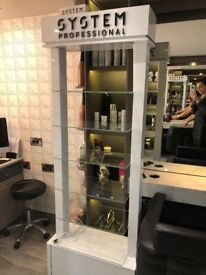 Shelving unit with lighting for sale, ideal for displaying products £100 ono