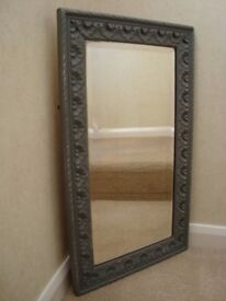 Shabby Chic bevelled ornate wooden mirror painted in Annie Sloan 'Graphite'