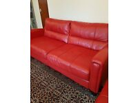 2 x Red Leather Used Sofa from John Lewis Good Condition 1 Owner