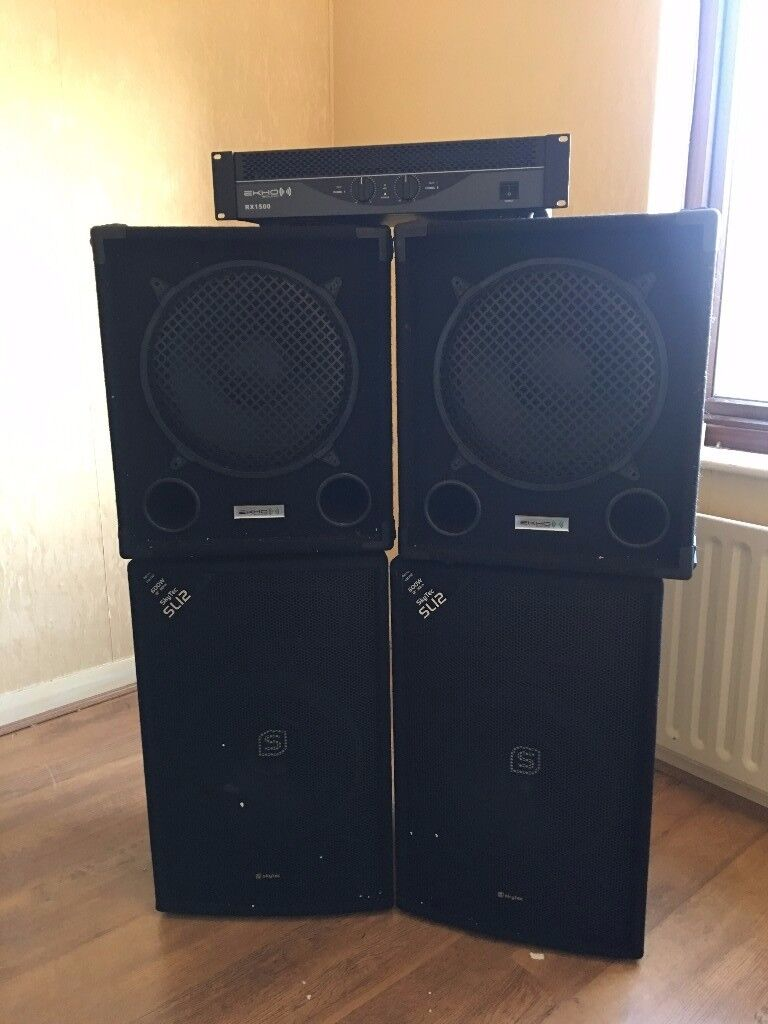 full dj speaker setup for sale 2800w with amplifier two subs two speakers