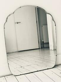 Extra large vintage antique frameless bevelled mirror Art Deco mid century