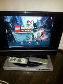 """Goodmans 19"""" lcd tv and yamada dvd player with remotes"""