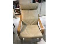 Pair of Ivory faux leather Poang chairs (Ikea)