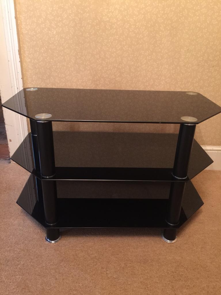 Black glass three shelf television stand Xbox sky box wii etc