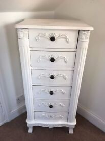 White tall Chest of Drawers - White Tall Boy - Antique style