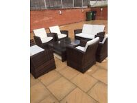 RATTAN OUTDOOR SOFA SUITES X 2 WITH 2 GLASS TOP RATTAN COFFEE TABLES