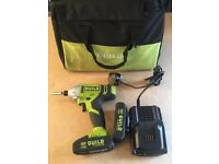 Guild 18v impact drill with two batteries and charger and carry case working perfect