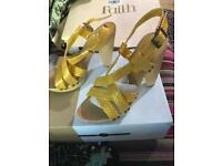 Faith, Size 4 Faux Leather, Snake Print Heels
