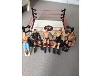 Kids WWE ring and 5 wrestling fugures