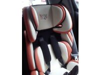 Child car seat, clean, bright and used twice. Ages 3-8. Granny's baby is growing up