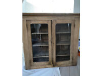 Antique pine cupboard with glass doors
