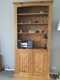 Pine bookcase/dresser with cupboards at base