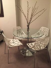 Glass circle table with chrome base - excellent condition