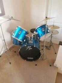 Full drum kit and Paiste bronze ride cymbal