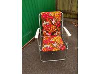 Vintage Retro 70/80's Orange/ Brown Floral Deck Chairs - Picnic / Camping/ Gardenamper