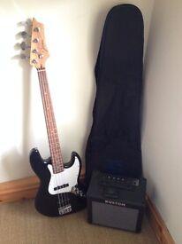 Johnson bass guitar, amp, bag and tuner
